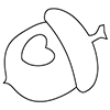 little acorn logo: a line drawing of an acorn with a heart drawn in the nut area
